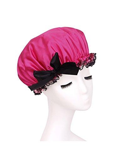 Bonnet de bain Version Coréenne Mode Dentelle Papillon Nœud Capuchon De Douceur Imperméable Casquette De Cuisson Hat (Couleur : 2)