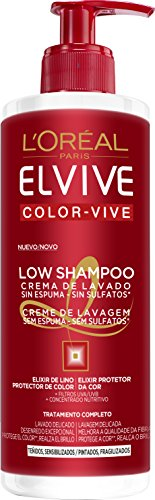 LOreal Paris Elvive Low Shampoo Champú, para cabello teñido - 400 ml