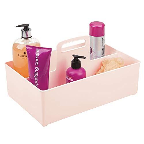 mDesign Organizer Bagno a 2 Scomparti – Scatola portaoggetti con Maniglia Perfetta per Shampoo, balsamo, Creme e Molto Altro – Contenitore in plastica Senza BPA – Rosa