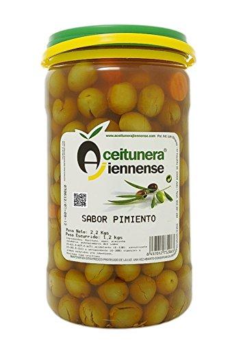 Aceituna Adobada Sabor Pimiento | Aceitunera Jiennense | 2,3 kg ( Peso neto )