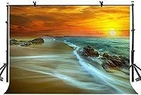 HD 10x7ftイブニング海景背景サンセットリーフ自然シーン写真背景とスタジオ写真背景小道具LYNAN329