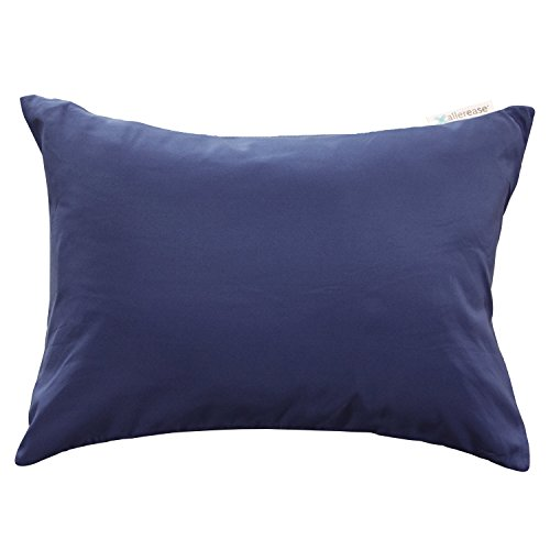 """AllerEase Allergy Protection Zippered Travel Pillow Protector, 14""""x20"""" (Navy) – Soft Touch..."""