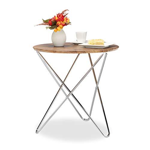 Relaxdays Beistelltisch rund, Couchtisch Holz Vintage Look, Metallgestell, Wohnzimmertisch klein, flach, HxBxT: 59x60x60 cm, Natur