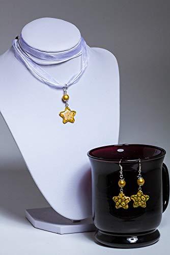 Syloschmuck Halskette Set Ohrringe Weihnachtsschmuck Stern gelb Millefiori Glas Weihnachtsgeschenk für sie