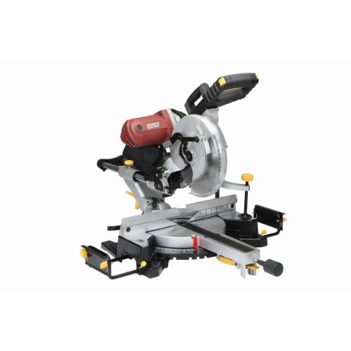 12 Inch Double-Bevel Sliding Compound Miter Saw with Laser Guide 15 Amp; Comes with Dust Bag, Machined Aluminum Fence, Extension Bars, Table Clamp, Cord Storage Hooks