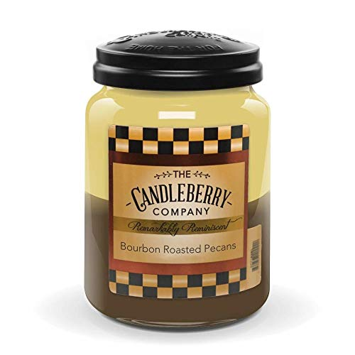 Candleberry Candles   Strong Fragrances for Home   Hand Poured in The USA   Highly Scented & Long Lasting   Large Jar 26 oz (Bourbon Roasted Pecans)