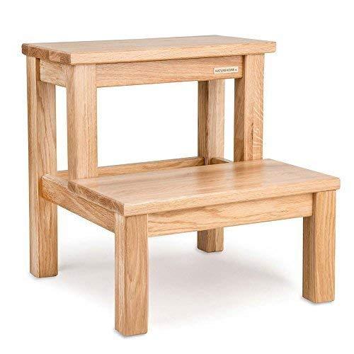 NATUREHOME ECO Tritthocker Eiche 40x40x40cm - Natur geölt, Stabiler WC Hocker aus massivem Holz zweistufigerTritt/Sitzhocker für Kinder und Erwachsene