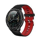 Sportuhr mit Farbbildschirm, Herzfrequenz-, Blutdruckmessung, Push-Bluetooth, multifunktional, Gesundheitsuhr (rotes Silikonband)