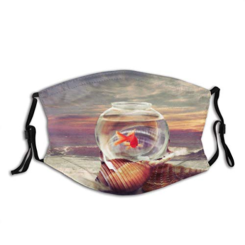 WGYDREAM Face Cover Aquarium With A Goldfish Standing On A Shell By The Sea Balaclava Reusable Windproof Anti-Dust Mouth Bandanas Camping Motorcycle Running Neck Gaiter With 2 Filters