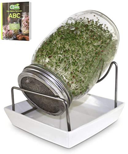 Green SEEDS Sprossenglas Keimglas 1er Set 1000ml mit hochwertigem Edelstahl-Gitterdeckel, Ständer, Keramikschale + GRATIS Sprossen-ABC [E-Book]