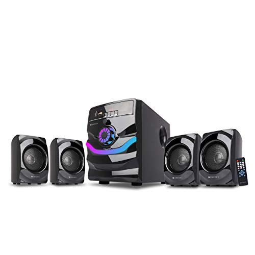 Zebronics Zeb Rainbow 4.1 Channel Home Theater Speaker with Subwoofer, Wireless Connectivity, USB Slot, AUX Jack, Built in FM Radio, Remote Control, RGB Lights, Wall Mountable