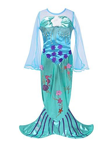 Alvivi Mädchen Meerjungfrau Kostüm Prinzessin Kleid Kinder Cosplay Halloween Karneval Verkleidung Festlich Party Kleid Himmel Blau 122-128