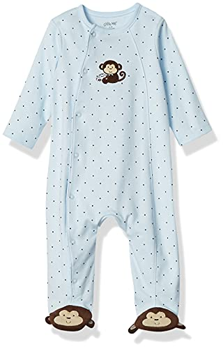 Product Image of the Little Me Baby-Boys Monkey Star Footie, Light Blue, Newborn