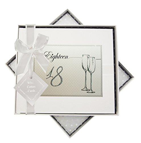 Blanc Coton Cartes d'anniversaire Âge 18 flûtes à Livre d'or, Tissu, Blanc, 19.5 x 21.5 x 1.5 cm