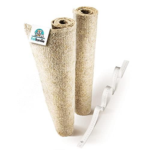 Fellfamilie® Nagerteppich aus Hanf [100 x 50cm] - Besonders Hygienisch & Extra Saugstark - Hanfmatten für Nager - Einstreu-Ersatz Nagermatte für Hamster & Kaninchen Käfige (2 Stück)