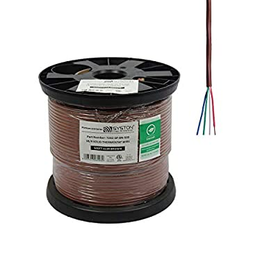 18/4 Solid, HVAC-Thermostat Cable, UL/ETL CL3R/CMR/FT4, 18AWG 4 Pure Copper Conductors, Indoor/Outdoor UV Resistant RoHS Brown 500ft Spool