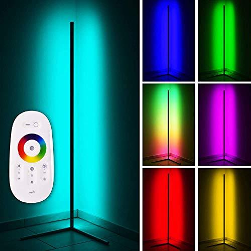 LED Stehlampe 20W Dimmbar Stehleuchte mit RGB und Fernbedienung, Modern Farbwechsel Eckleuchte Standlampe für Wohnzimmer Schlafzimmer, Schwarz [Energieklasse A],147x 40cm,Schwarz,RGB