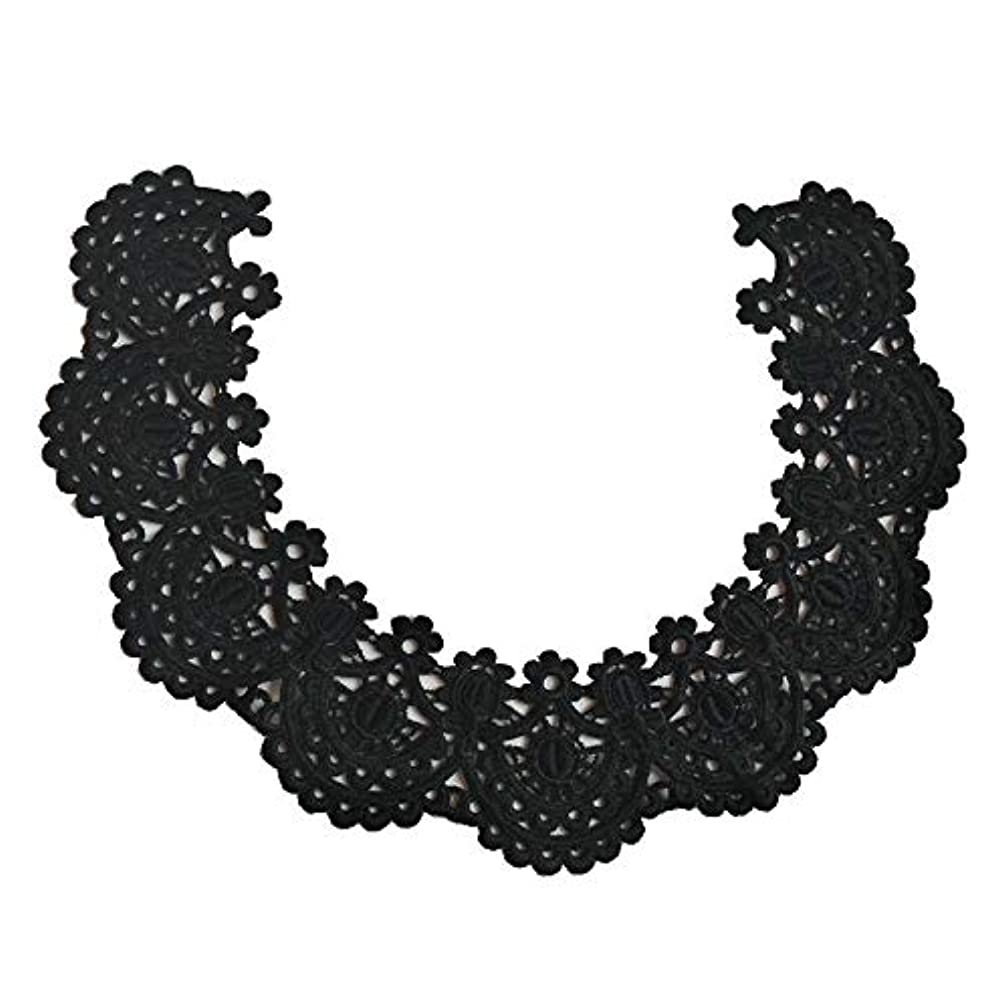 1pc White/Black Circular Beautiful Embroidery Lace Fabric DIY Lace Collar Fabric for Sewing Supplies Craft (Black)