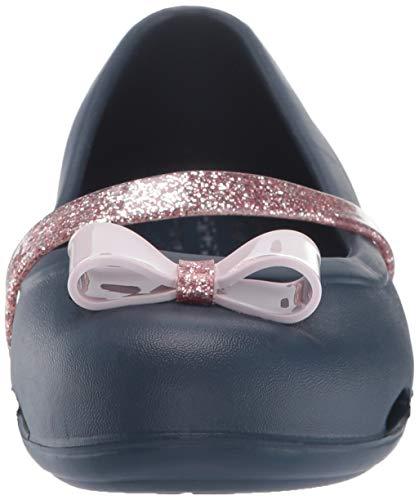 Crocs Lina Charm Flat Ballet, navy, 4 M US Toddler