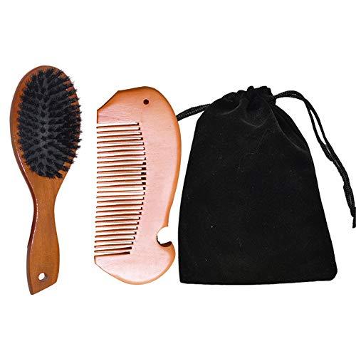 Cepillo de pelo de cerdas de jabalí, Cepillo de pelo de cerdas de jabalí antiestático, Peine de madera natural, Cepillo de peinado profesional para rizos y rizos