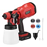 Powerextra Paint Sprayer-750 Watts High Power HVLP Spray Gun with 4 Nozzles & 3 Patterns Lightweight for Furniture, Fence, Car, Bicycle, Chair, Watering