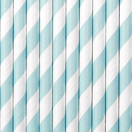 PartyDeco Papier Strohhalme Hellblau mit weißen Diagonalstreifen- Dekorative Strohhalme für Getränke Cocktail- Dekoration für Geburtstag Party Silvester Junggesellinnenabend Einweggeschirr Löffel