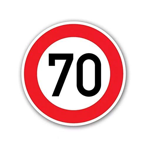 Límite de velocidad 70 km por hora Advertencia Pegatina de coche Decal de protección solar Maleta de camiones Motocicleta Auto Accesorios PVC, 16 cm * 16 cm (Color Name : Style A)