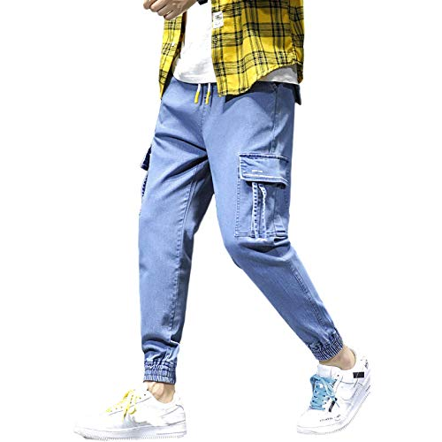 Jeans para Hombre Four Seasons Trendy Drawstring Cintura elástica Jeans recortados Casual Harem Jeans con Bolsillo Tobillo Ajustable Deportes 3XL
