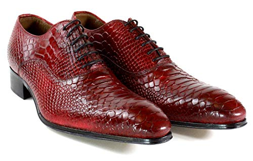 Ivan Troy George Red Classic Crocodile Embossed Handmade Men Italian Leather Dress Shoes/Oxford Shoes/Made in Italy (EU 46 - US 13)
