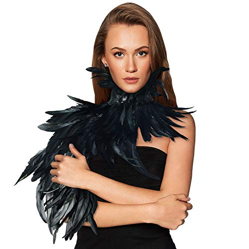 HOMELEX Gothic Black Natural Feather Cape Shawl with Choker Collar (Style-4)