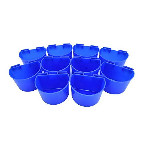 Studyset 10 pcs/Set Cage Cup Hanging Water Feed Cups Waterer and Feeder Set for Poultry Gamefowl Rabbit Chicken Pigeons 10pcs
