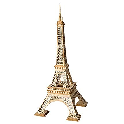 Rolife Rompecabezas de Madera 3D Modelo Kits de artesanía de Madera para 3D Brain Teaser Puzzle de Madera Juego Niños y Adolescentes (Eiffel Tower)