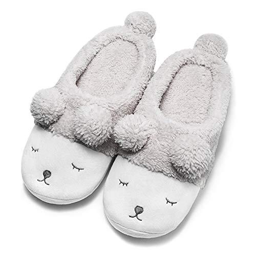 GaraTia Warm Indoor Slippers for Women Fleece Plush Bedroom Winter Boots Grey Open Back 11-12 M US
