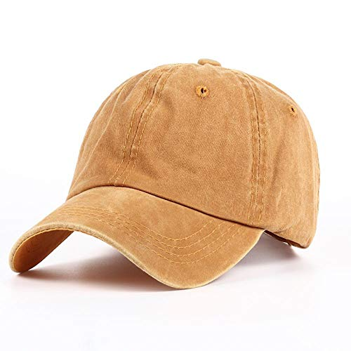 Cap Casquette de Baseball Snapback New Plain Dyed Sand Washed 100% Soft Cotton Cap Blank Baseball Caps Dad Hat No Embroidery Mens Cap Hat for Men and Women Yellow