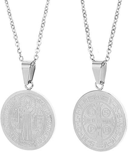Zaaqio Collar Acero Inoxidable Cruz Medalla Chai Medalla Oro Plata Color