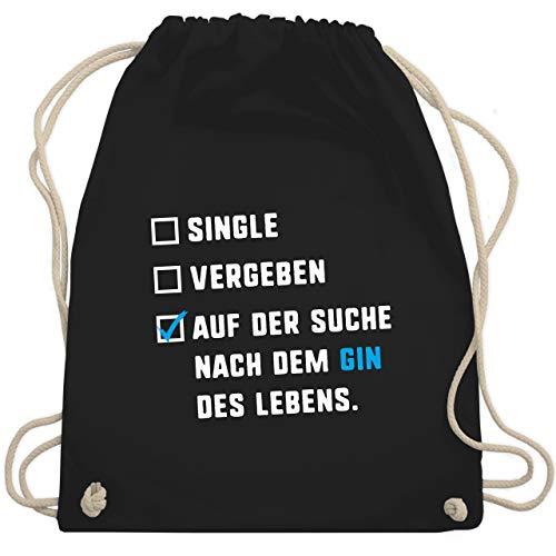 Shirtracer Festival Turnbeutel - Single Vergeben Gin des Lebens - Unisize - Schwarz - turnbeutel damen sprüche - WM110 - Turnbeutel und Stoffbeutel aus Baumwolle