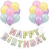 Guirnalda Feliz Cumpleaños Globos Colores Fiesta Cumpleaños Banderines Decoración Happy Birthday Guirnalda Cumpleaños Infantil Niña