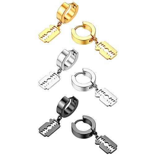 Flongo Herren Ohrstecker Creolen Damen Ohrringe Ohrhänger aus Edelstahl in Silber Schwarz Gold Stecker mit hängenden Rasierklinge Klinge Anhänger Männer, Frauen 6 Stück Set