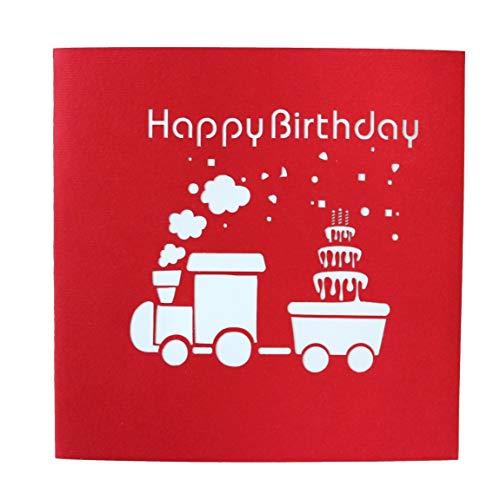 3D Geburtstagskarte – Dampflok Karte für Kinder: Eisenbahn mit bunten Tieren – Handgefertigte Klappkarte mit Umschlag, Pop-Up 3D-Karte zum Geburtstag - 6
