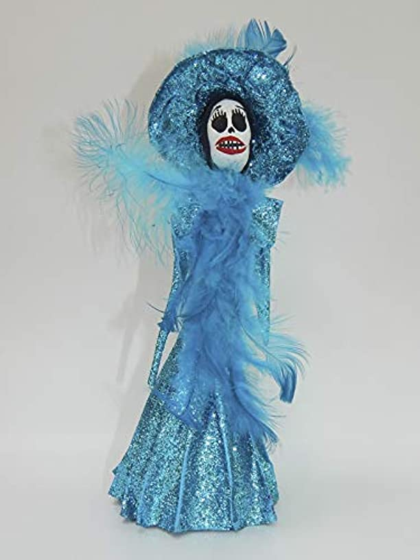 COLOR Y TRADICIóN Mexican Catrina Doll Day of Dead Skeleton Paper Mache Dia de Los Muertos Skull Folk Art Halloween Decoration # 1569