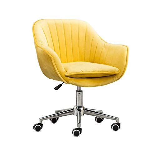 WSDSX Modern Bar Chair with Velvet Cushion and Steel Pentagonal Foot Office Chair, Height Adjustable 46cm-58cm, Home Living Room Bedroom Dormitory (Color : Yellow)