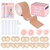 ELECLAND 1 rollo de cinta Boob 20 Pcs Pezón Cubre 72 piezas de doble cara...