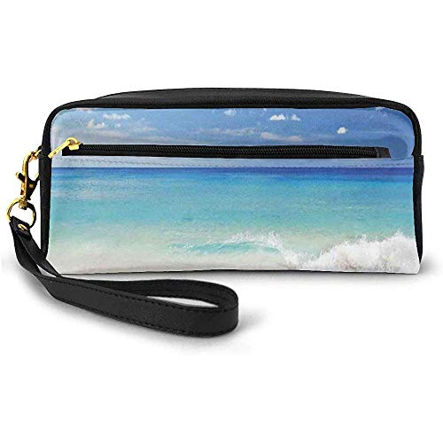 Tropic Ocean Style Sandy Shore and Sea with Waves Escape to Paradise Theme Small Makeup Bag with Zipper Pencil Case 20cm * 5.5cm * 8.5cm