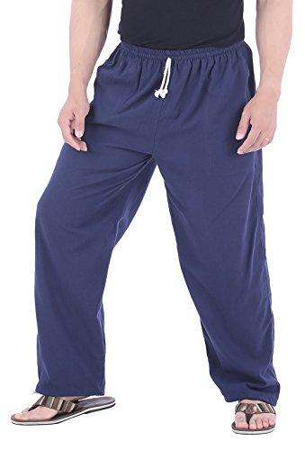 CandyHusky Men Casual Lounge Jogging Workout Yoga Pants Elastic Waist Drawstring (XL/XXL, Blue)