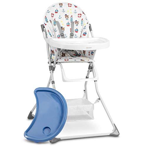 Kinderhochstuhl Hochstuhl Baby Kinderstuhl Babystuhl , Verstellbar und Klappbar, Fußstütze, Abnehmbares Tablett Polster Korb Ricokids Eldo (Blau)