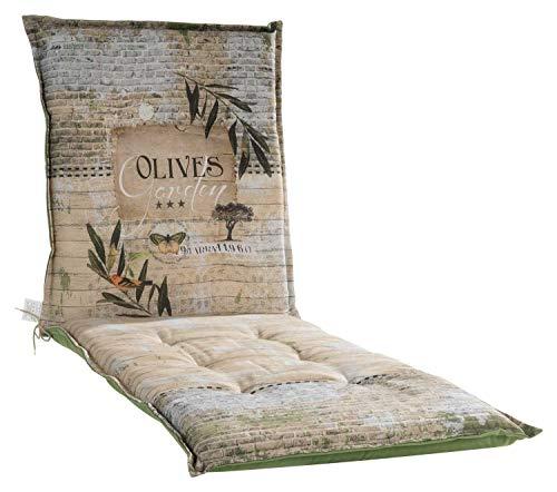 Möbel Jack Liegenauflage Polsterauflage Gartenliegenauflage Sonnenliegenauflage   190 x 60 x 8 cm   Grün   Olivenblättermotiv   Baumwolle