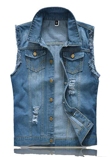 Lavnis Men's Sleeveless Denim Vest Casual Slim Fit Button Down Jeans Vests Jacket (M, Blue)