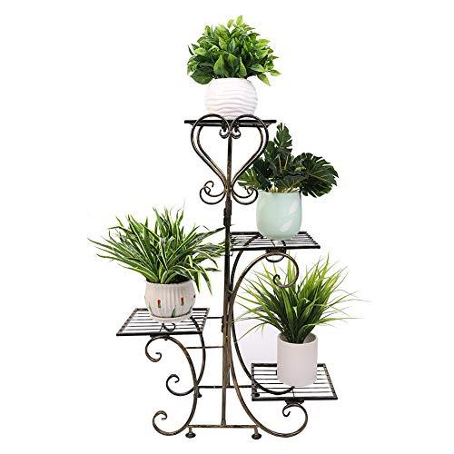 Wisfor Blumentreppe 4 Ebenen, Aus Metall, Blumenständer für innen und außen, Pflanzenregal Bronze 81×57×26cm