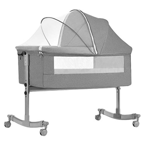 Bedside Baby Crib Cot Bed With Mattress, Removable Mosquito Net And Wheels, Infant Bassinet Cot Height Adjustable,for Newborn To 24 Months (Color : Gray)