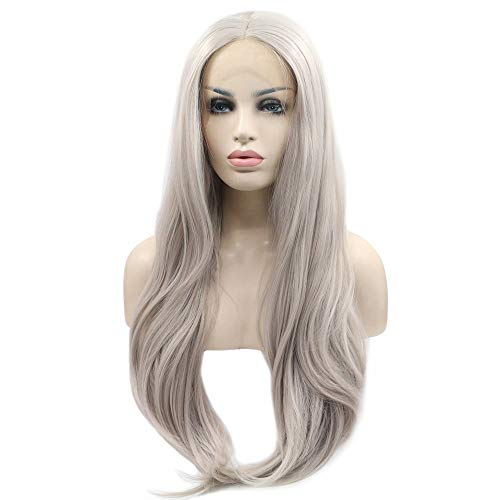 eNilecor Silver Platinum Blonde Lace Front Wig Long Natural Wavy Middle Part Synthetic Replacement Hair Grey Wigs Soft Heat Resistant Ash Wigs for Women 24'